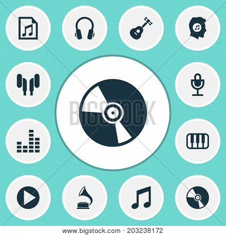 Music Icons Set. Collection Of Earmuff, Instrument, Phonograph And Other Elements