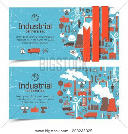 Horizontal banners with industrial elements and red ribbon on blue worn background isolated vector illustration