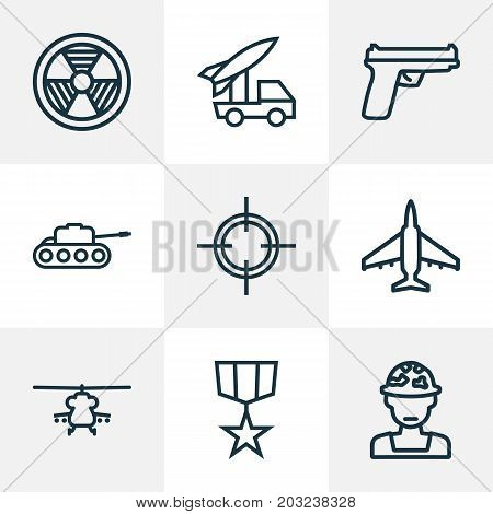 Combat Outline Icons Set. Collection Of Officer, Weapon, Panzer And Other Elements