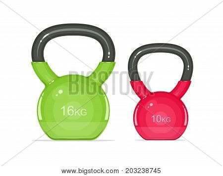 Kettlebells. Equipment for fitness. Sport inventory. Isolated white background. Vector illustration.