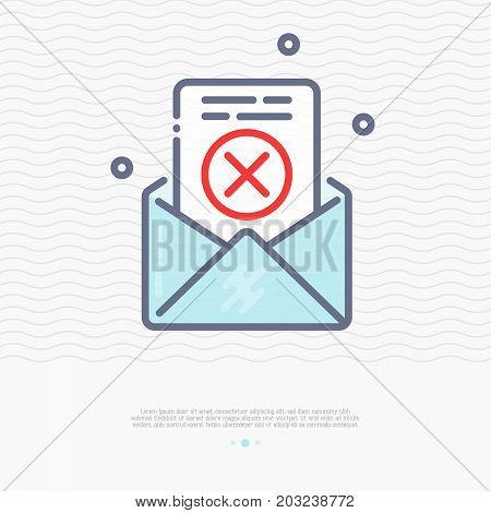Envelope with rejected document thin line icon. Vector illustration of spam or wrong address email.