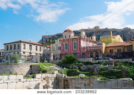 Colorful Athens houses and Acropolis hill, Athens Greece