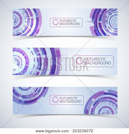 Set of three isolated modern virtual technology wide horizontal banners set with elements of detailed futuristic circles vector illustration