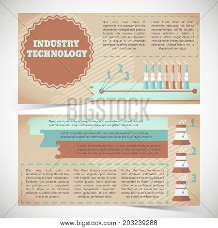 Industry technology horizontal banners with smokestacks and infographic elements on beige striped background isolated vector illustration