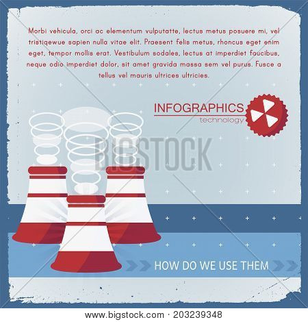 Industrial technology infographics in blue red colors with smokestacks and design elements on textured background vector illustration