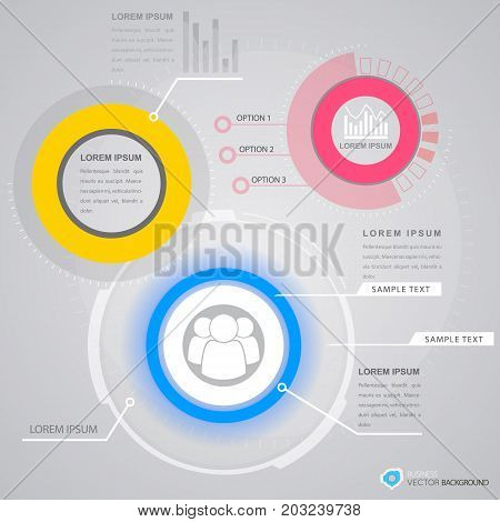 Business infographics with choice of option personnel icon and virtual interface elements on grey background vector illustration