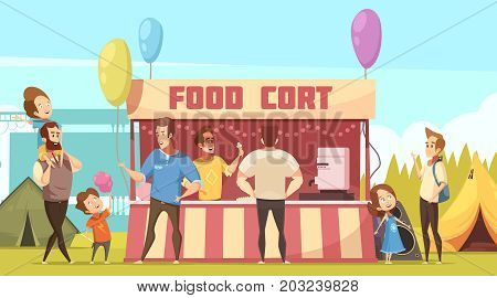 Open air festival camping area retro cartoon banner with food court tents and fathers with kids vector illustration