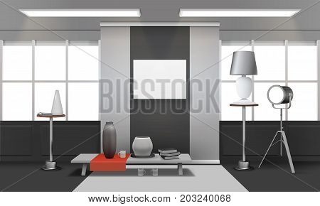 Realistic loft interior with windows on ceiling, red cloth on table, picture frame on wall vector illustration