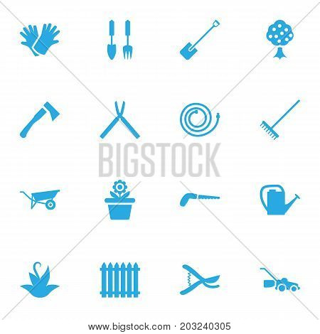 Collection Of Fence, Garden, Flowerpot And Other Elements.  Set Of 16 Farm Icons Set.