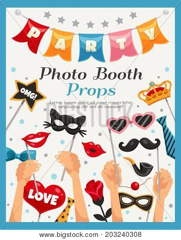 Colored photo booth party props poster with headline and human s hands vector illustration