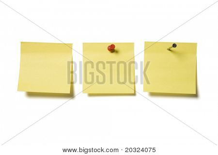 Miscellaneous blank paper notes isolated on a white background