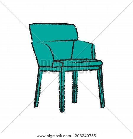 Green chair with wooden legs. armchair on white background