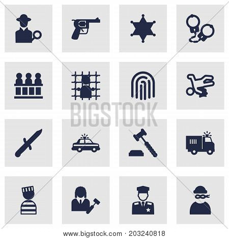 Collection Of Police Car, Jury, Truck And Other Elements.  Set Of 16 Criminal Icons Set.