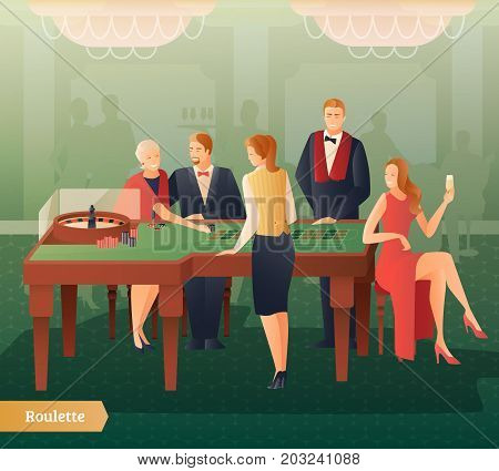Casino and roulette with men women and croupier flat gradient vector illustration