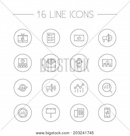 Collection Of Promotion, Advertising Agency, Research And Other Elements.  Set Of 16 Trade Outline Icons Set.