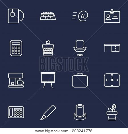 Collection Of Flowerpot, Coffee Maker, Wastebasket And Other Elements.  Set Of 16 Bureau Outline Icons Set.