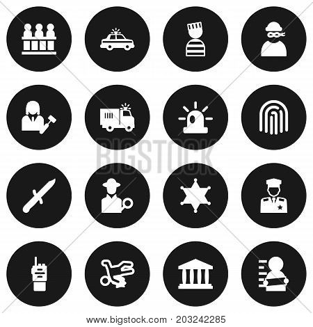 Collection Of Thief, Policeman, Walkie-Talkie And Other Elements.  Set Of 16 Crime Icons Set.