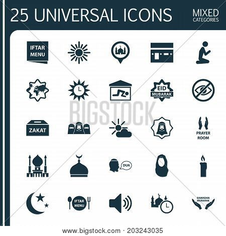 Religion Icons Set. Collection Of Pray, Clock, Dishes And Other Elements