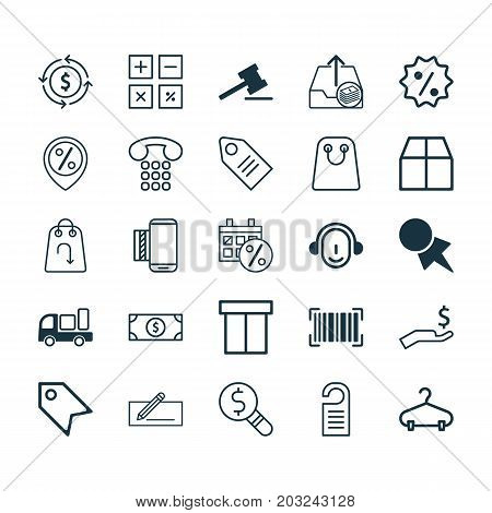Commerce Icons Set. Collection Of Cardboard, Price, Business Inspection And Other Elements