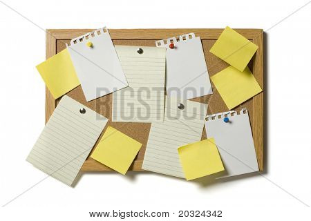 Cork board filled with various types of blank paper isolated on a white background