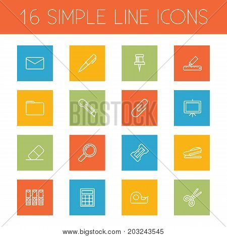 Collection Of Portfolio, Pen, Sticky And Other Elements.  Set Of 16 Instruments Outline Icons Set.