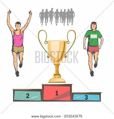 a sports cup for the winner. below is a pedestal for the first, second and third place. athletes in the form of silhouette.