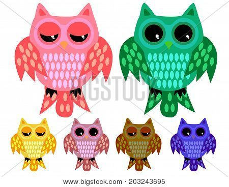 A Set Of Six Half-asleep Owls With Half-closed Eyes With Ornamented Wings And Tails In Different Col