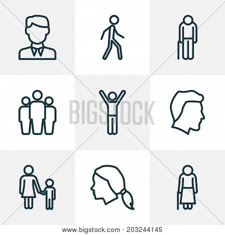 People Outline Icons Set. Collection Of Team, Woman, Worker And Other Elements