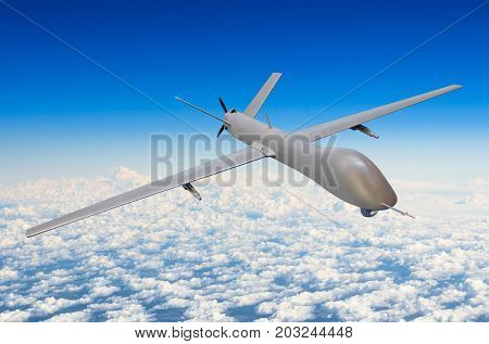 Unmanned military aircraft background blue sky clouds poster