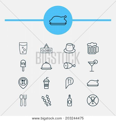 Cafe Icons Set. Collection Of Closed Placard, Stick Barbecue, Beverage And Other Elements