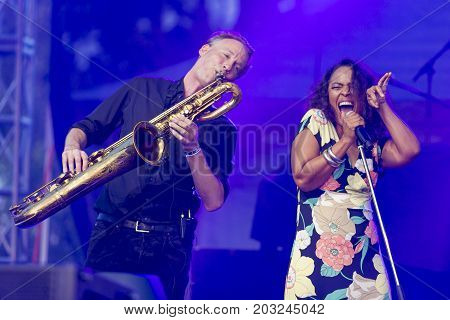 Minsk Belarus-August 12 2017: Vocalist and Singer Pat Appleton and Marcus Bartelt of World Renowned Jazz Ensemble De-Phazz Performing at A-Fest Music Festival on August 12 2017 in Minsk Republic of Belarus.