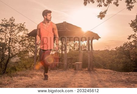 One Young Man, Running, Runner, Sport Clothes, Outdoors Sunny Day Sun, Recreation Adventure