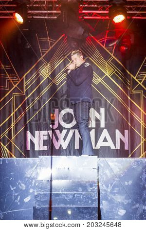 Minsk Belarus-August 12 2017: World Famous British Pop-Singer John Newman Performing at A-Fest Music Festival on August 12 2017 in Minsk Republic of Belarus.