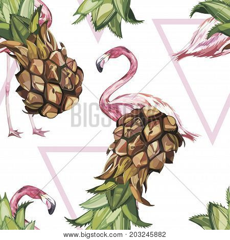 Seamless pattern with tropical Ananas and Flamingo. Element for design of invitations, movie posters, fabrics and other objects. Isolated on white.