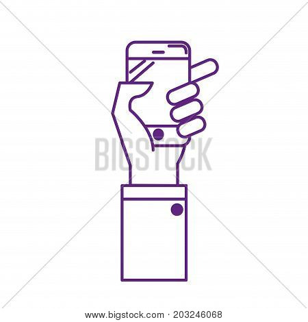 line technology smartphone in the hand to digital communication vector illustration