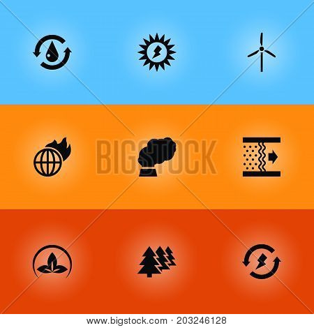 Collection Of Contamination, Reforestation, Treatment And Other Elements.  Set Of 9 Atmosphere Icons Set.