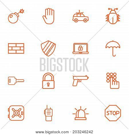 Collection Of Lock, Siren, Dynamite And Other Elements.  Set Of 16 Safety Outline Icons Set.