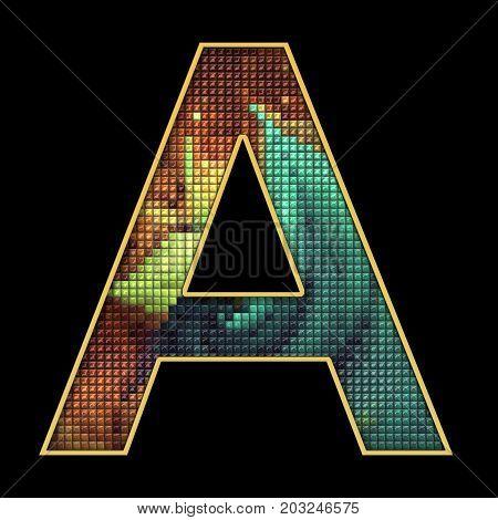 3D Render Of Puff Pixels Alphabet Letter