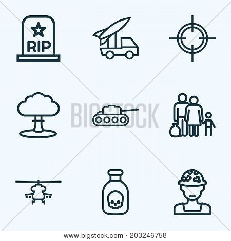Warfare Outline Icons Set. Collection Of Officer, Venom, Rip And Other Elements