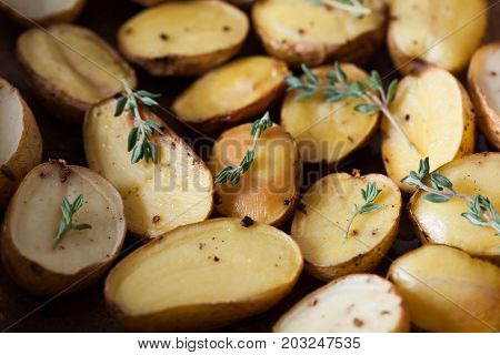 Baked Spicy Potatoes With Thyme On Parchment