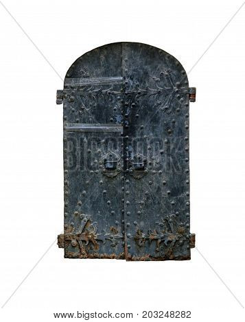 old black vintage wrought iron rounded door isolated on white background