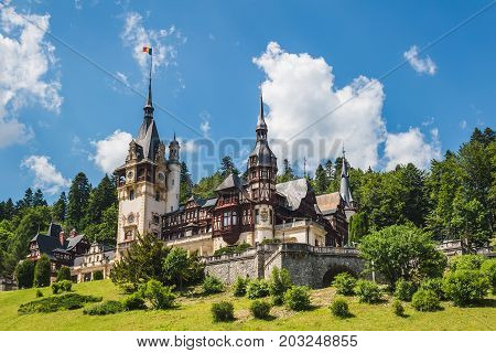 Sinaia Romania - june 21 2017: Peles castle at Sinaia town in Romania summer residence of Romanian royal family.