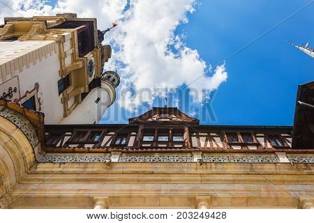 Sinaia Romania - june 21 2017: Low angle view of Peles castle at Sinaia town in Romania summer residence of Romanian royal family.