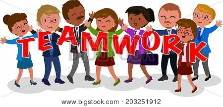 Happy successful exulting business teamwork vector illustration