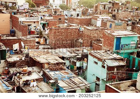 panorama of indian city rooftops, India Varanasi landscape, Benares cityscape, roof panorama of Indian city, ancient city roof panorama, colorful houses in India, indian town sunny landscape.