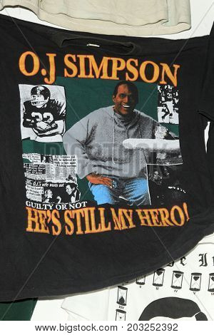 LOS ANGELES - AUG 17:  OJ Simpson memorabilia at the OJ Simpson Pop-up Museum  at the  Coagula Curatorial Gallery on August 17, 2017 in Los Angeles, CA