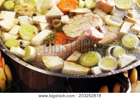 Bone Broth Made From Chicken With Carrots, Onions Various Fresh Vegetables In A Pot - Colorful Fresh