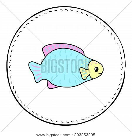 Fat tropical fish isolated on white background. Coral fish cartoon vector illustration. Underwater animal handdrawn patch. Aquarium fish drawing. Tropical sea animal clipart. Marine fauna character