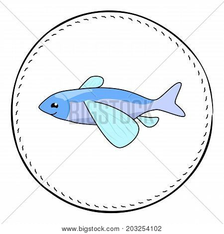 Flying fish isolated on white background. Cute flying fish cartoon vector illustration. Underwater animal handdrawn patch. Marine fish drawing. Tropical sea fish clipart. Marine fauna character icon