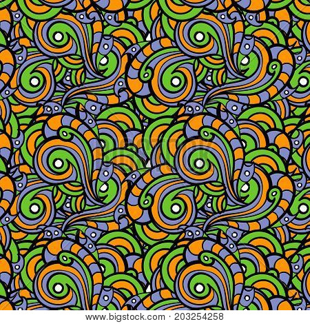seamless pattern of colorful, abstract different squiggles, and monograms